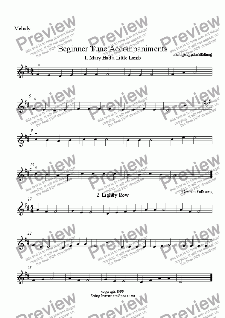 page one of the Melody part from Beginner Tune Accompaniments