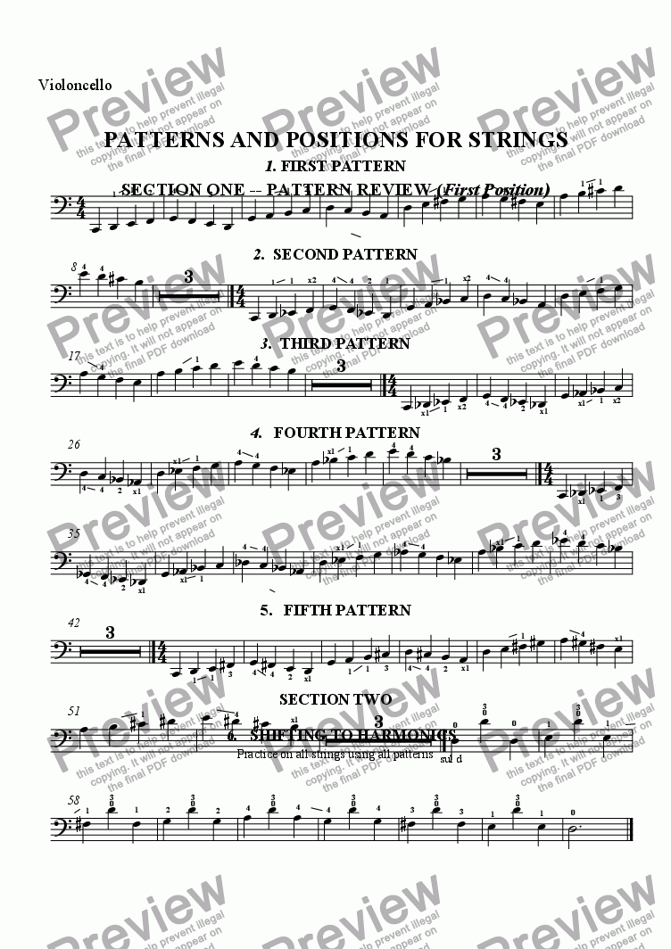 page one of the Violoncello part from PATTERNS AND POSITIONS FOR STRINGS