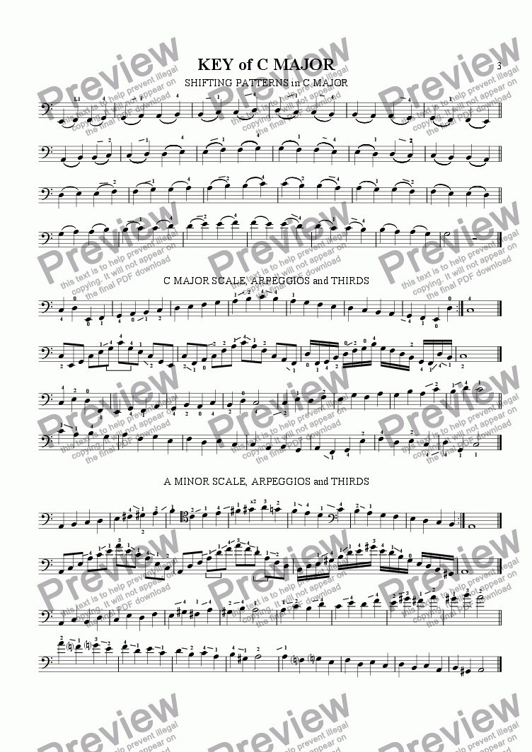 page one of the Double Bass (C1-A4) part from Scale Studies for Violin