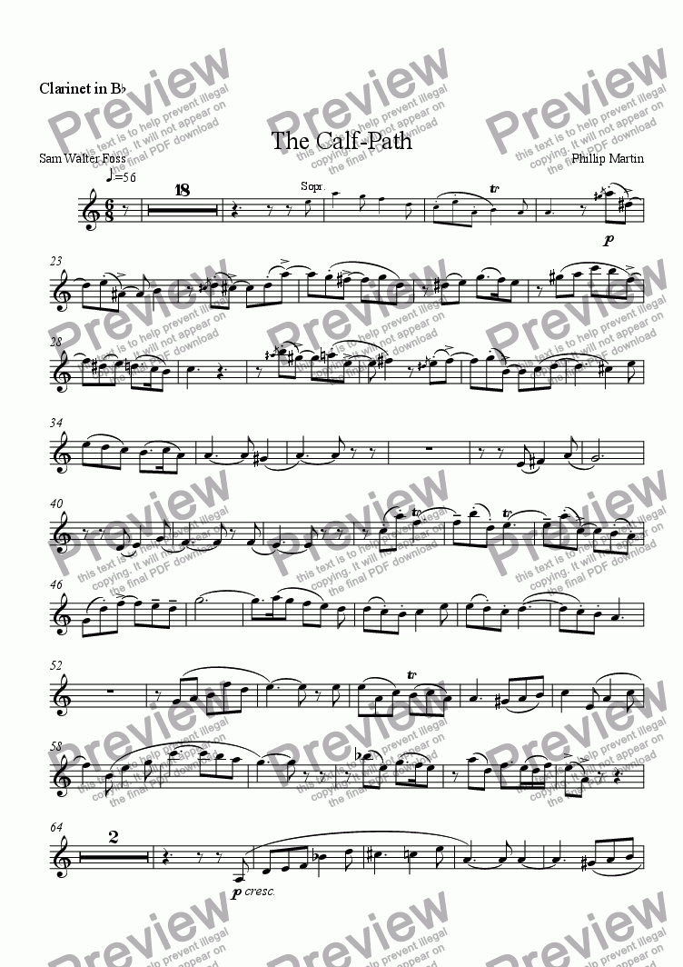 page one of the Clarinet part from The Calf Path