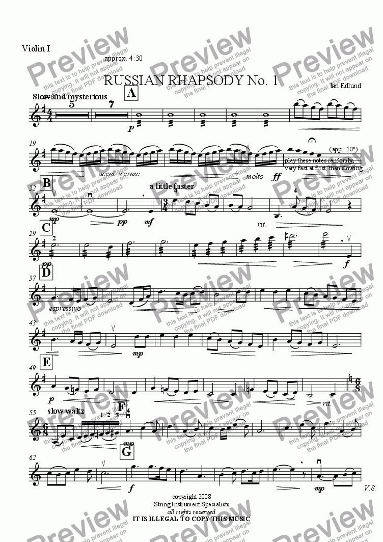 page one of the Violin I part from RUSSIAN RHAPSODY No. 1