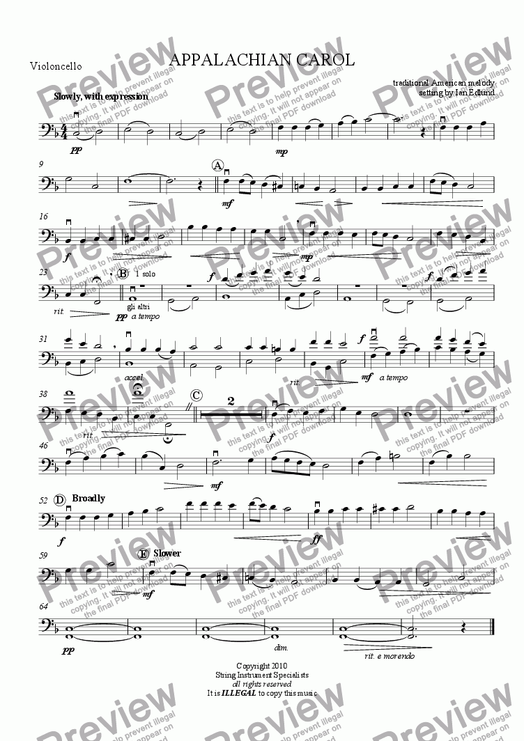 page one of the Violoncello part from APPALACHIAN CAROL