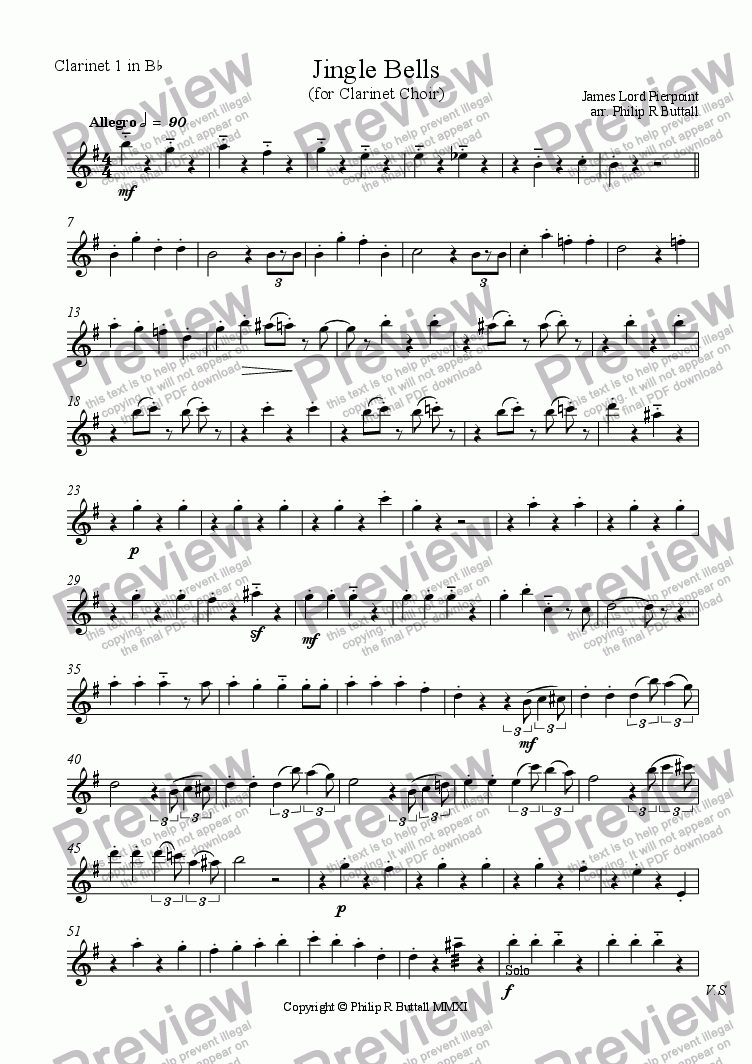 page one of the Clarinet 1 in Bb part from Jingle Bells (Clarinet Choir)