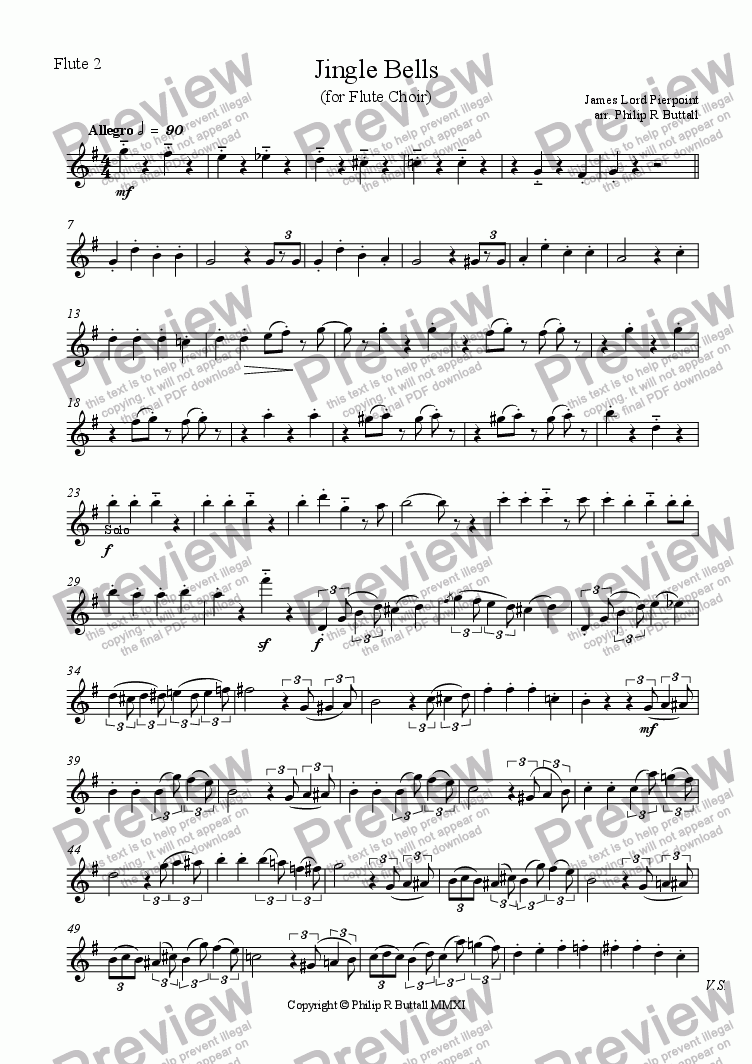 page one of the Flute 2 part from Jingle Bells (Flute Choir)