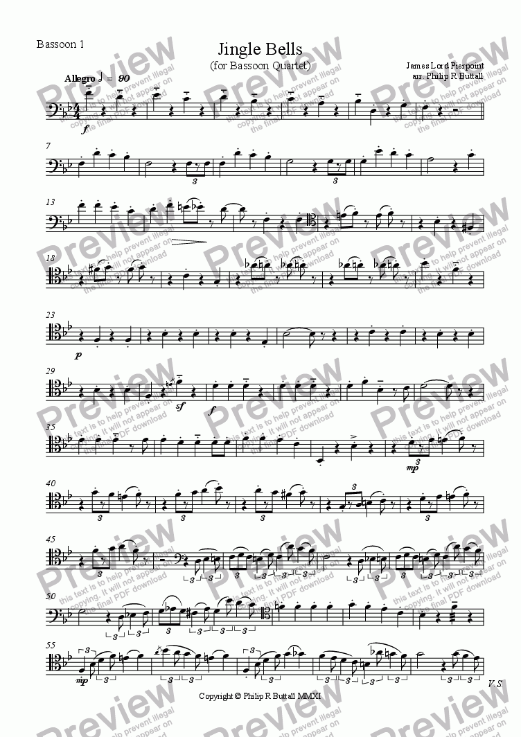 page one of the Bassoon 1 part from Jingle Bells (Bassoon Quartet)