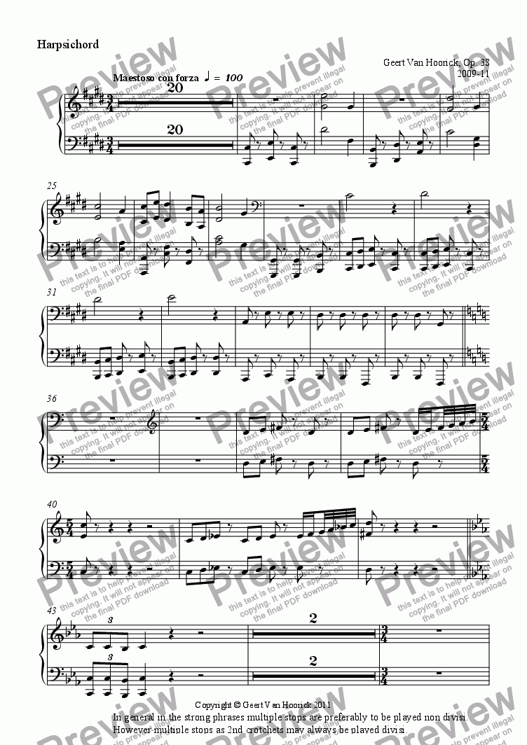 page one of the Harpsichord part from Concerto grosso for strings and harpsichord - I Intrada