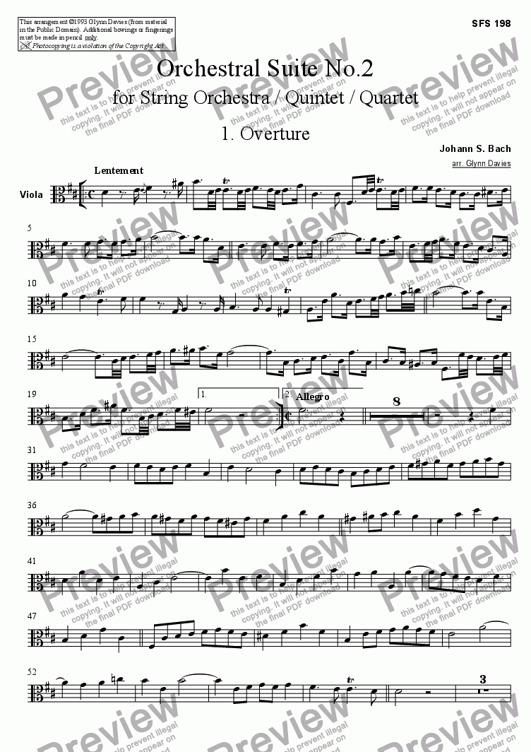 page one of the Viola part from Orchestral Suite No.2 - 1. Overture