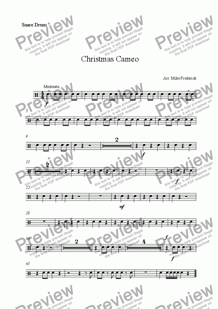 page one of the Snare Drum part from Christmas Cameo