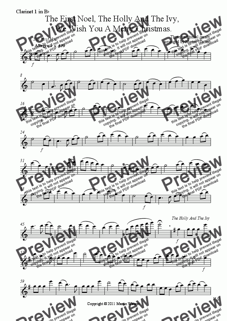 page one of the Clarinet 1 in B^b part from The First Noel, The Holly And The Ivy,  We Wish You A Merry Christmas for Clarinet Trio.