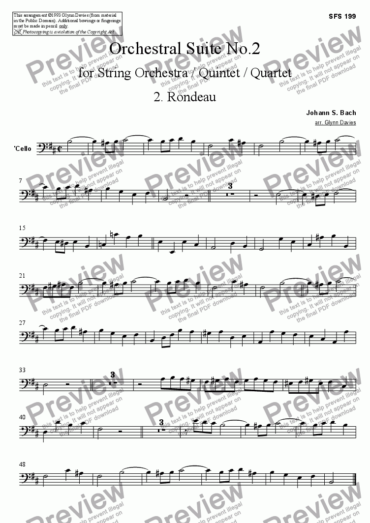 page one of the Cello part from Orchestral Suite No.2 - 2. Rondeau