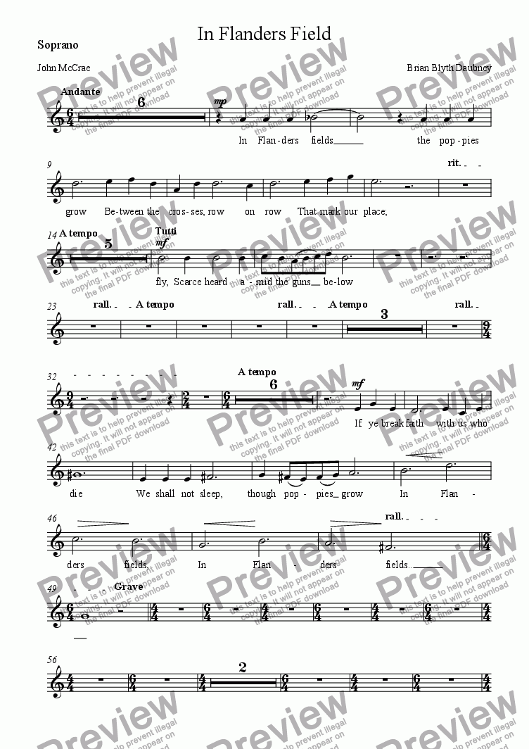 page one of the Soprano part from In Flanders Field