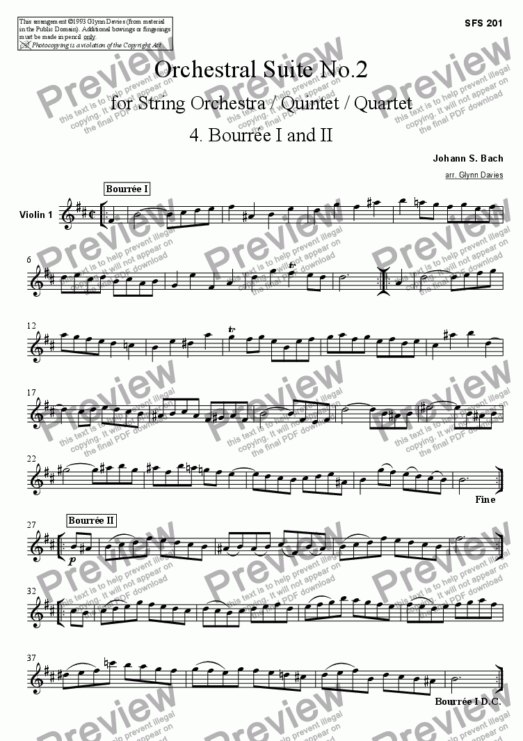 page one of the Violin 1 part from Orchestral Suite No.2 - 4. Bourree I and II