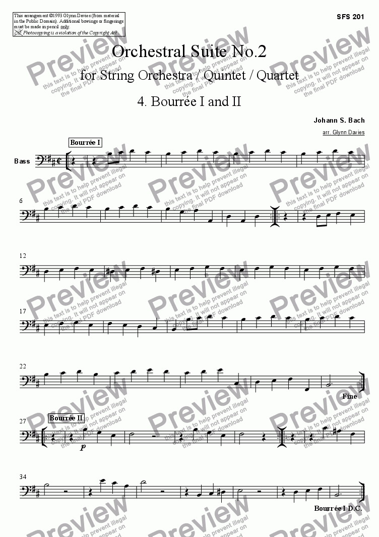 page one of the Bass part from Orchestral Suite No.2 - 4. Bourree I and II
