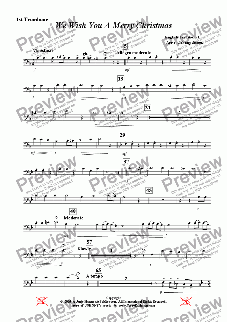 page one of the 1st Trombone part from We Wish You A Merry Christmas