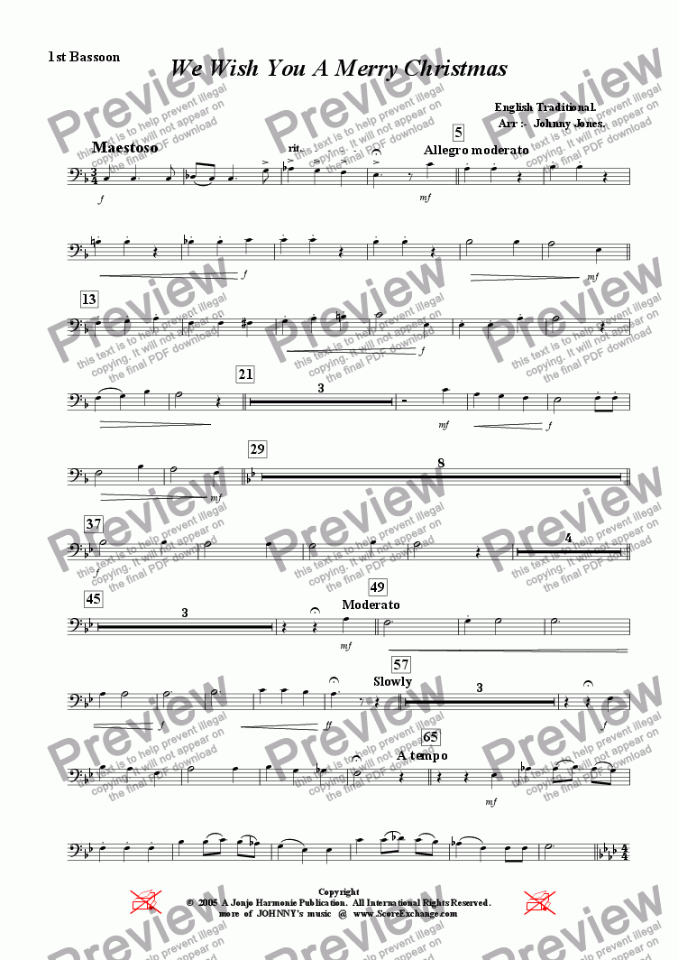 page one of the 1st Bassoon part from We Wish You A Merry Christmas