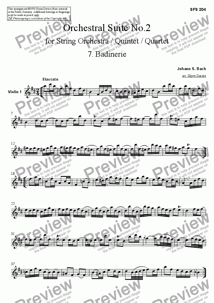 page one of the Violin 1 part from Orchestral Suite No.2 - 7. Badinerie