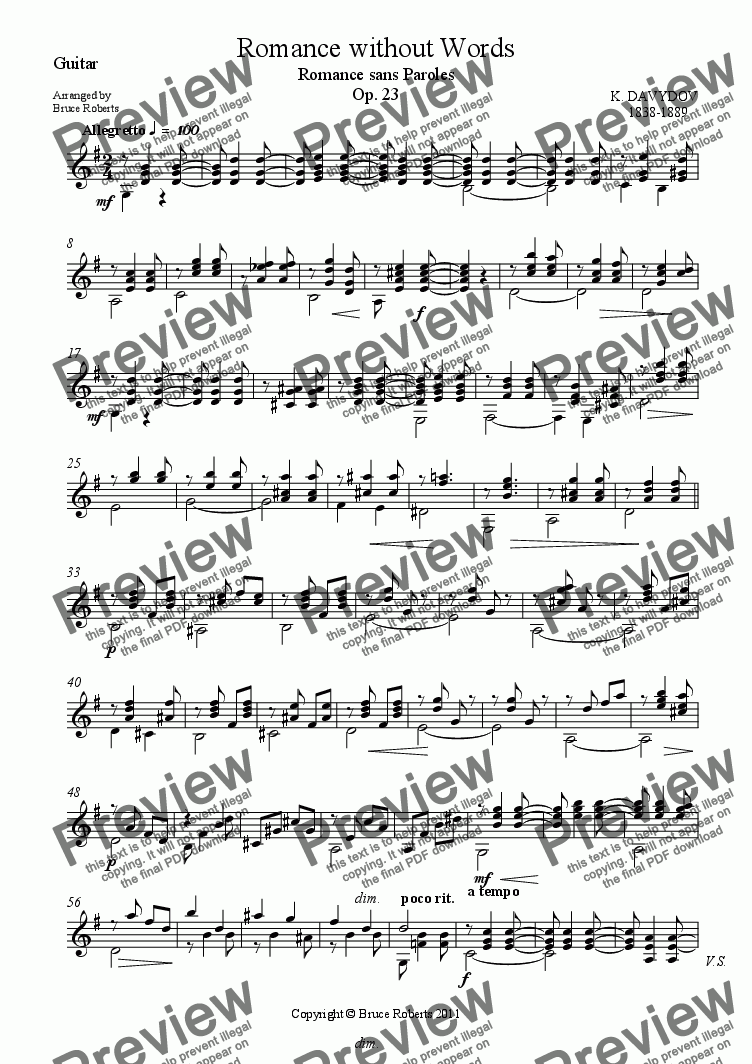 page one of the Guitar part from DAVYDOV: Romance without Words (Cello Difficult & Guitar Difficult)