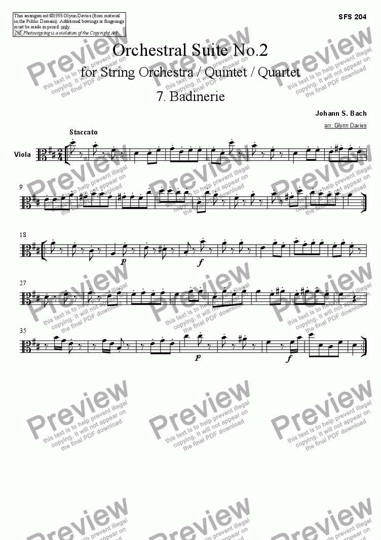 page one of the Viola part from Orchestral Suite No.2 - 7. Badinerie