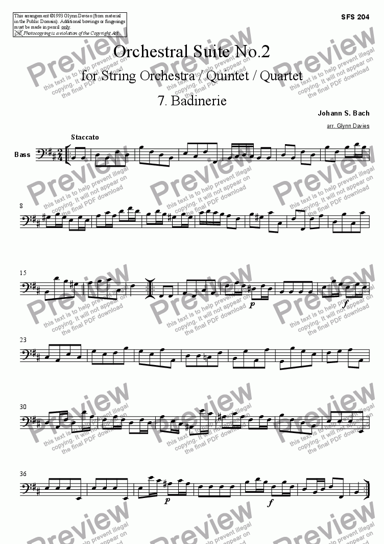 page one of the Bass part from Orchestral Suite No.2 - 7. Badinerie