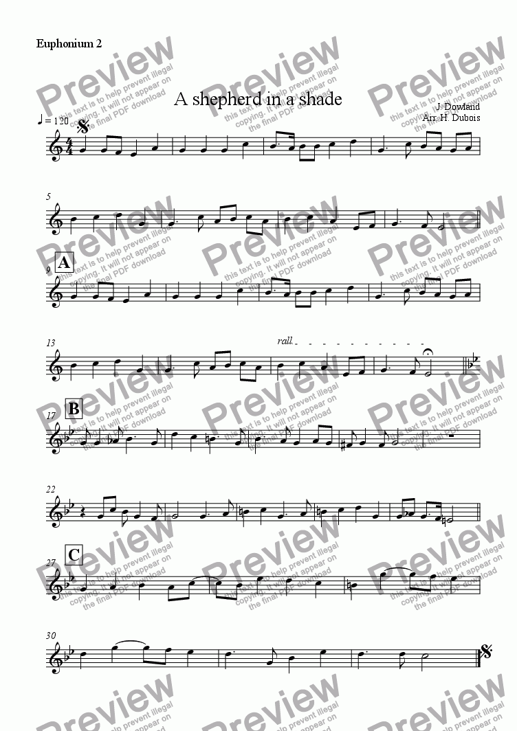 page one of the Euphonium 2 part from A shepherd in a shade