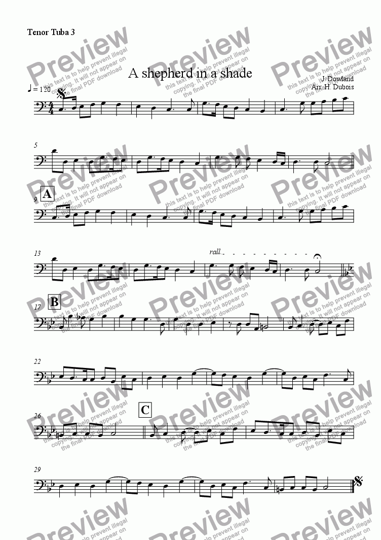page one of the Tenor Tuba 3 part from A shepherd in a shade