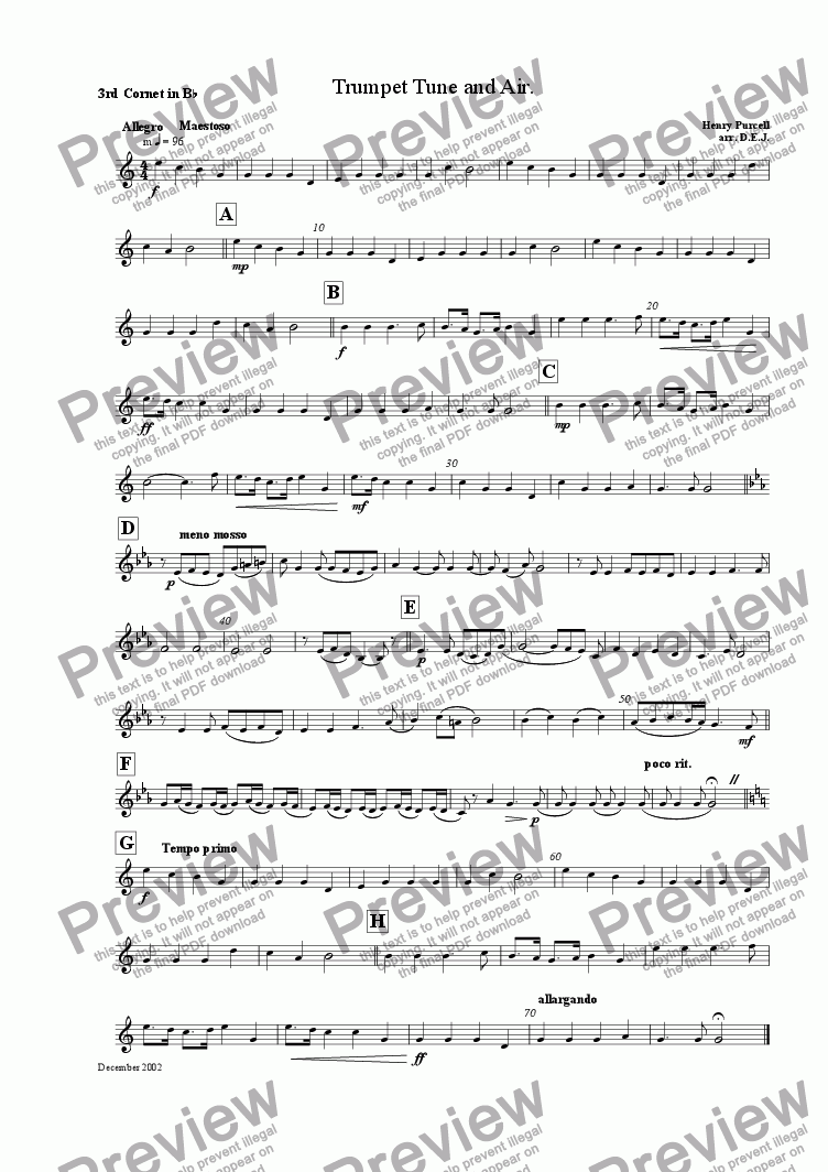 page one of the 3rd Cornet in Bb part from Trumpet Tune and Air