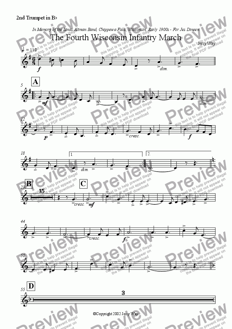 page one of the 2nd Trumpet in B^b part from The Fourth Wisconsin Infantry March