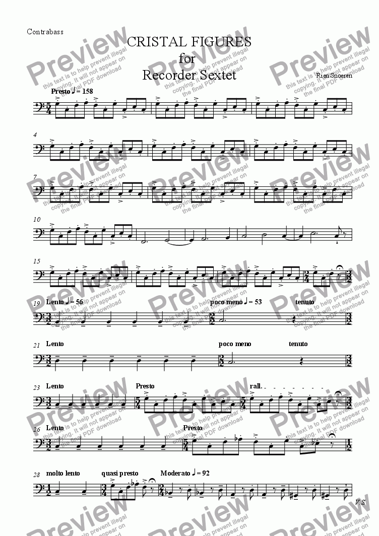 page one of the Contrabass part from CRISTAL FIGURES for  Recorder Sextet