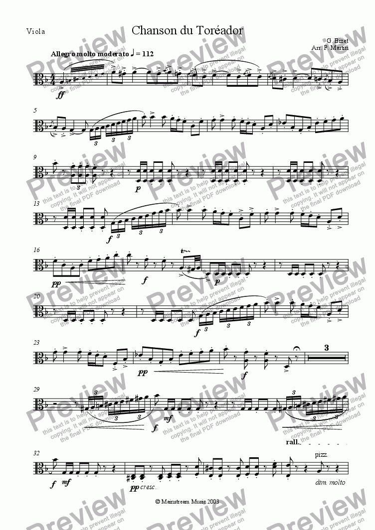 page one of the Viola part from Chanson du Toreador