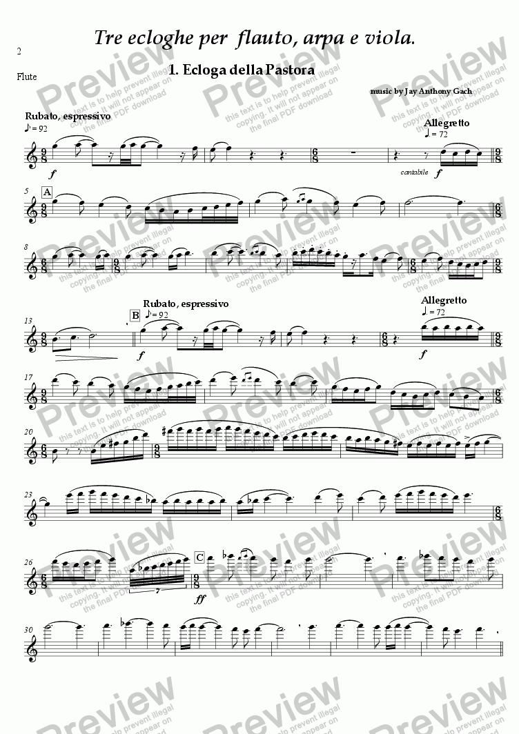 page one of the flute part from Tre Ecloghe (flute, harp & viola)