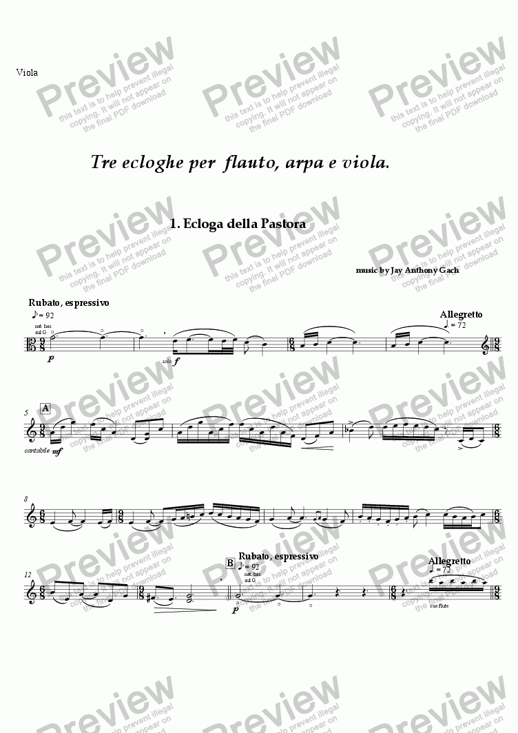 page one of the viola part from Tre Ecloghe (flute, harp & viola)