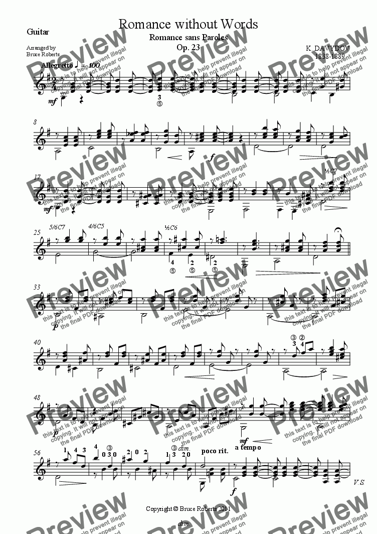 page one of the Guitar part from DAVYDOV: Romance without Words (Cello Difficult & Moderate Guitar)