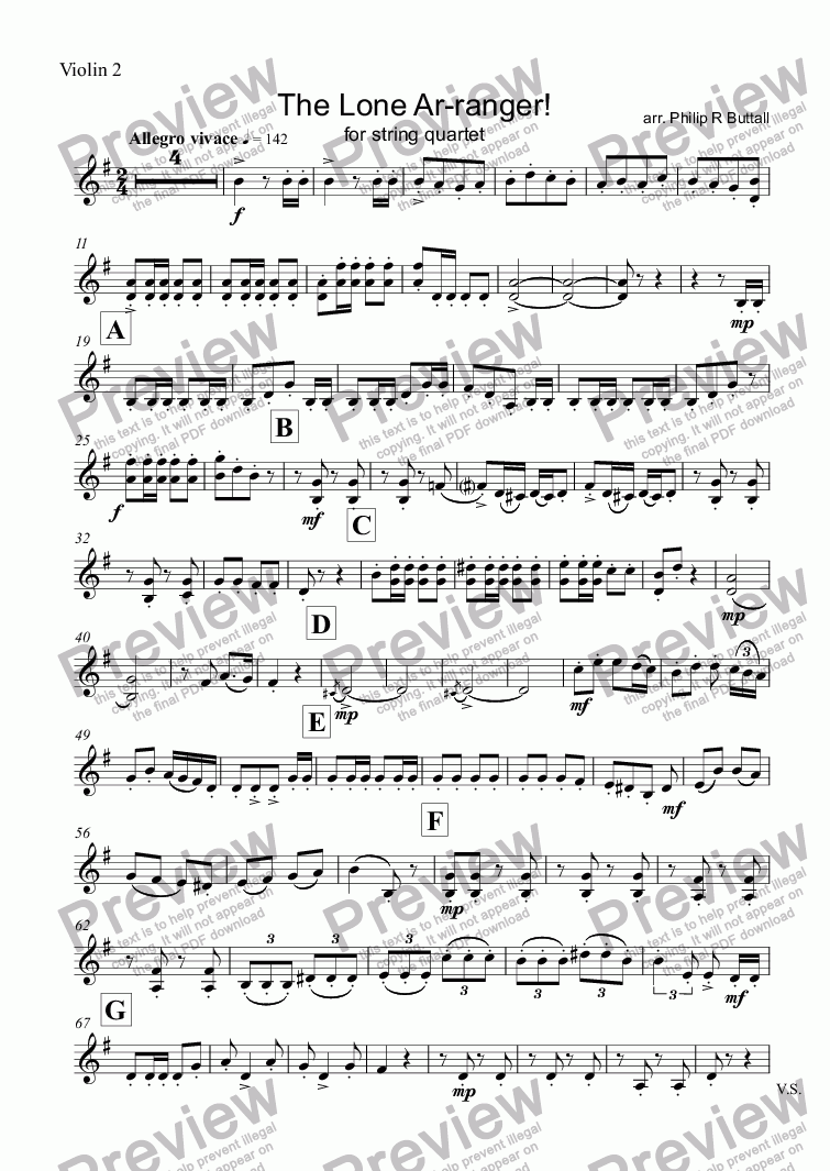 page one of the Violin 2 part from The Lone Ar-ranger! (String Quartet)