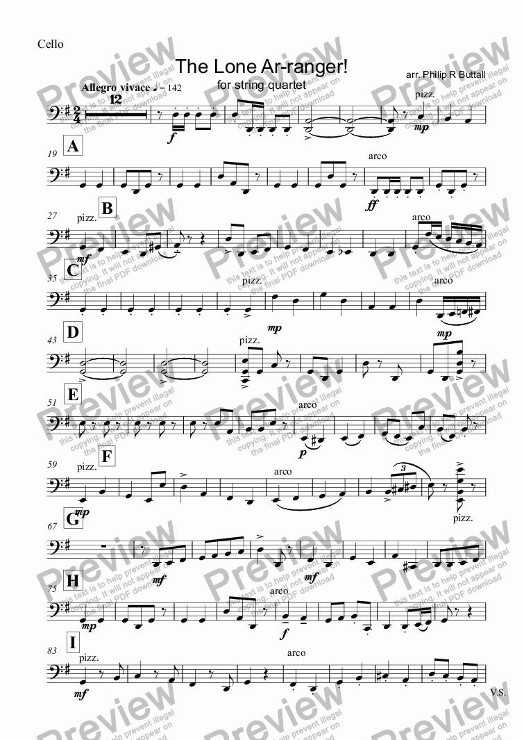 page one of the Cello part from The Lone Ar-ranger! (String Quartet)