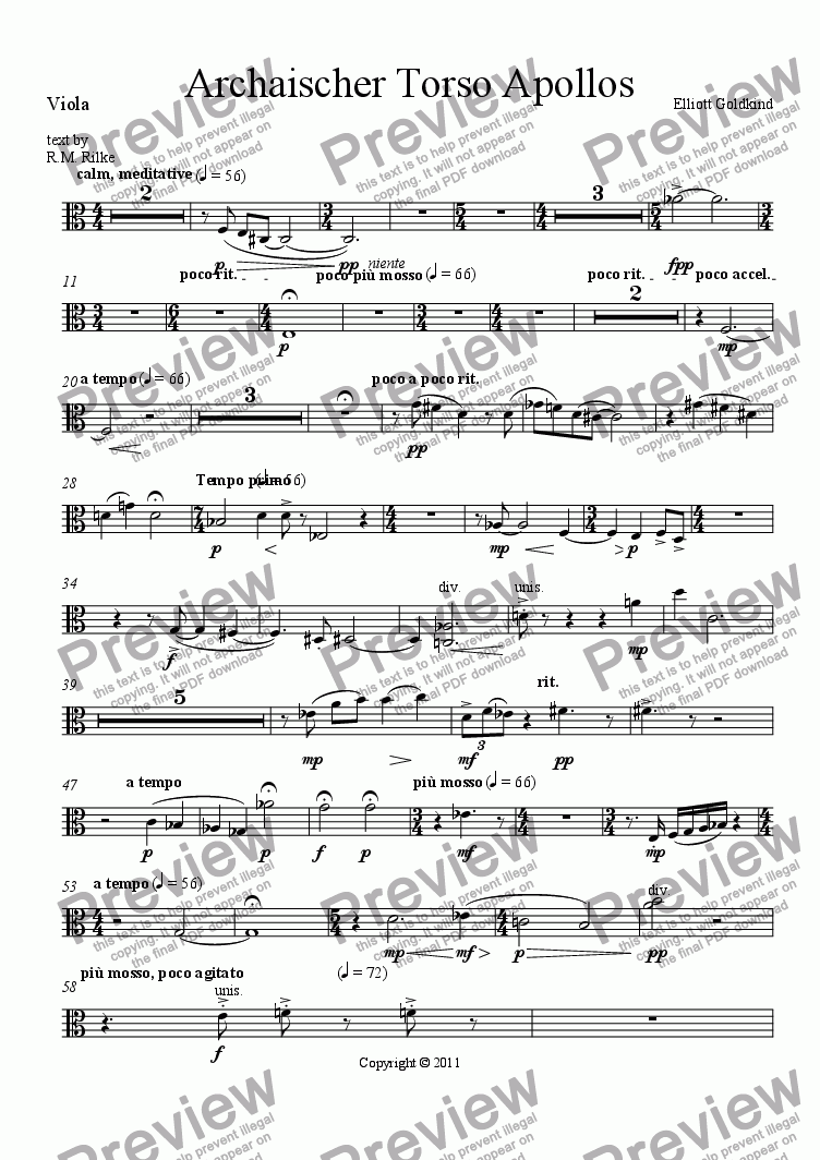 page one of the Viola part from Archaischer Torso Apollos-Soprano & Orchestra