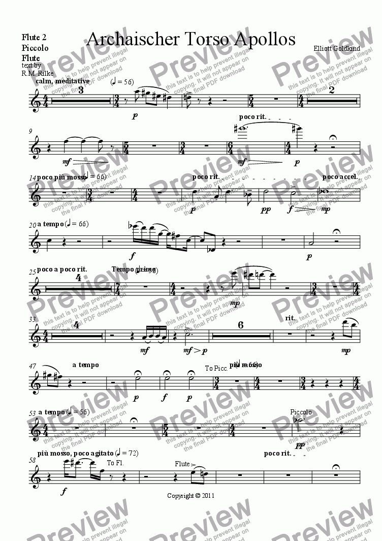 page one of the Flute 2, Piccolo, Flute part from Archaischer Torso Apollos-Soprano & Orchestra