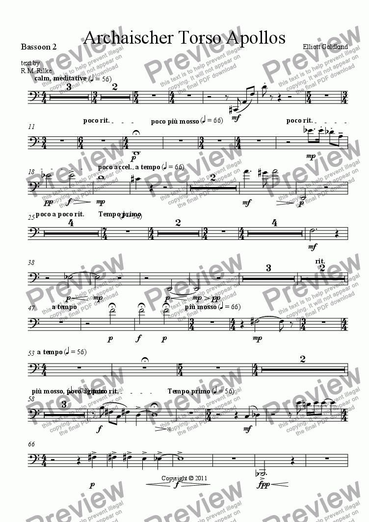 page one of the Bassoon 2 part from Archaischer Torso Apollos-Soprano & Orchestra