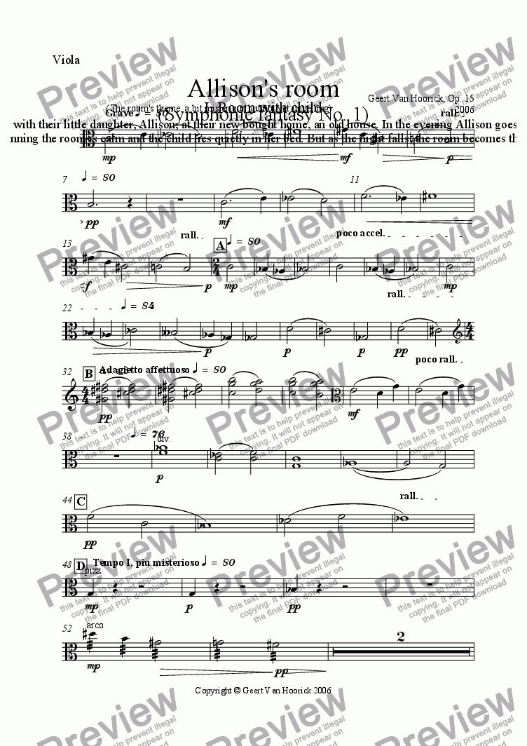 page one of the Viola part from Allison's Room