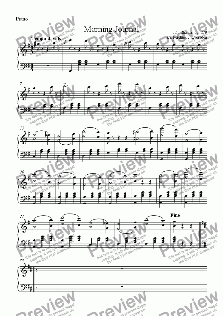 page one of the Piano part from Morning Journal