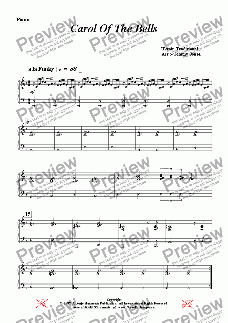 page one of the Piano part from Carol Of The Bells  ( a la Funk, Jazz Group )