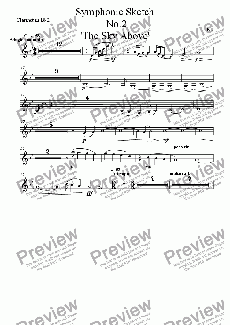 page one of the Clarinet in B^b 2 part from Symphonic Sketch  No.2 'The Sky Above'