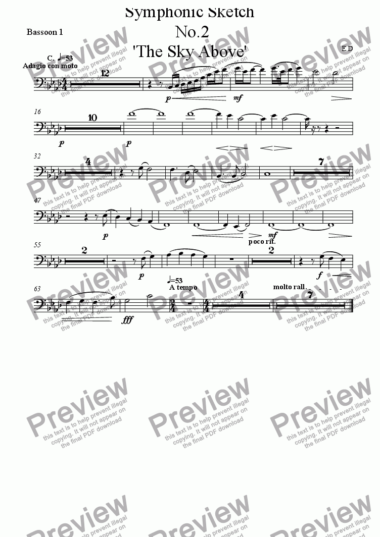 page one of the Bassoon 1 part from Symphonic Sketch  No.2 'The Sky Above'