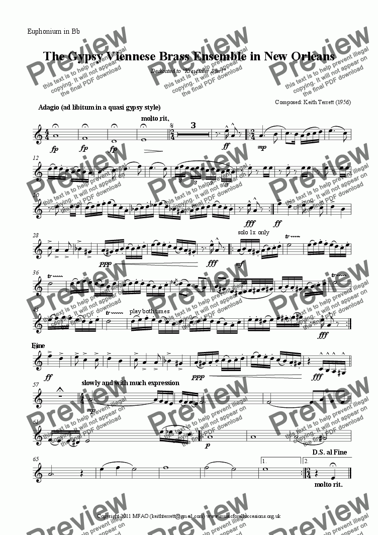 page one of the Euphonium in Bb part from The Gypsy Viennese Brass Ensemble in New Orleans (Brass Octet)
