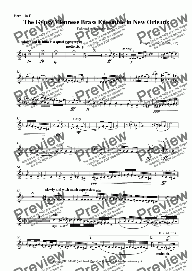 page one of the Horn 1 in F part from The Gypsy Viennese Brass Ensemble in New Orleans (Brass Octet)