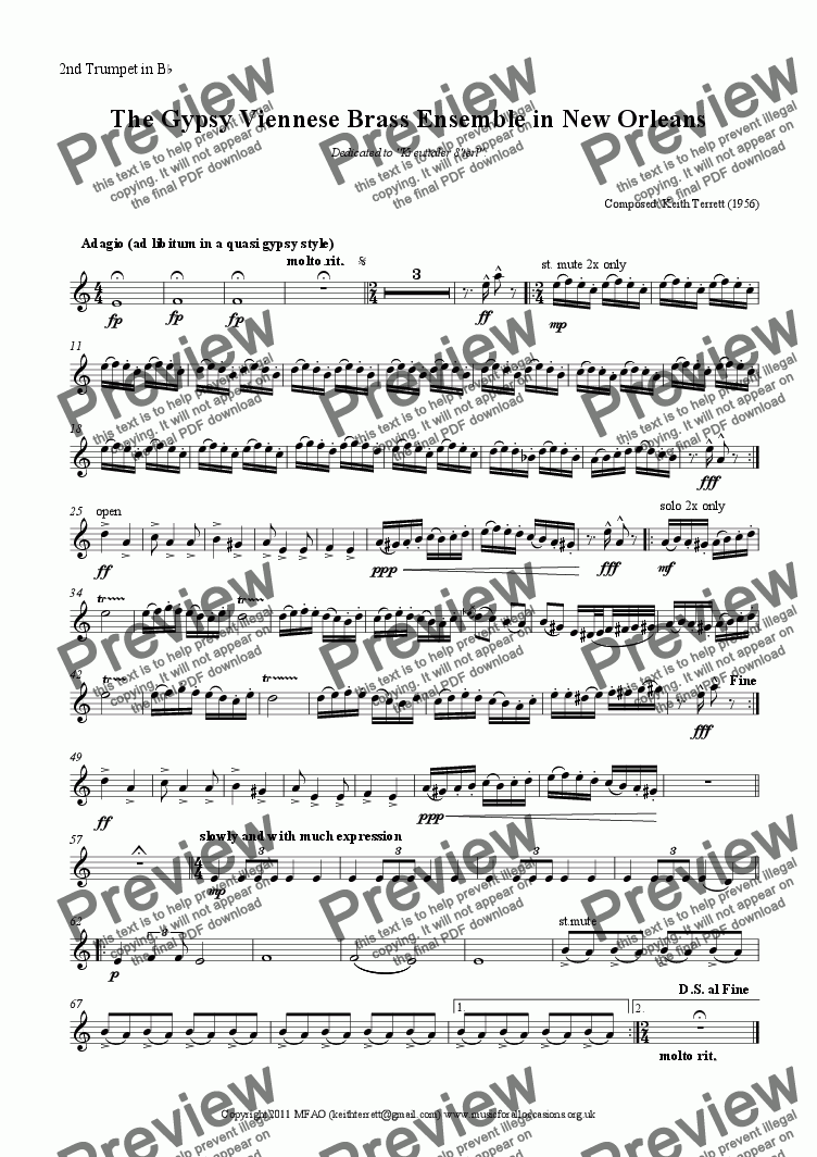page one of the 2nd Trumpet in B^b part from The Gypsy Viennese Brass Ensemble in New Orleans (Brass Octet)