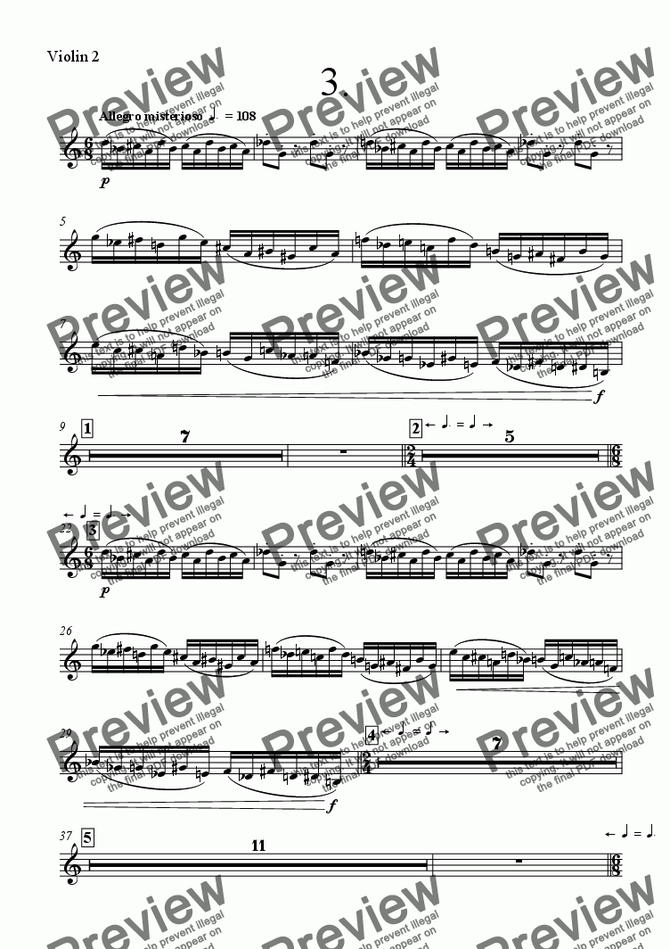page one of the Violin 2 part from Symphony No 68 3rd mvt