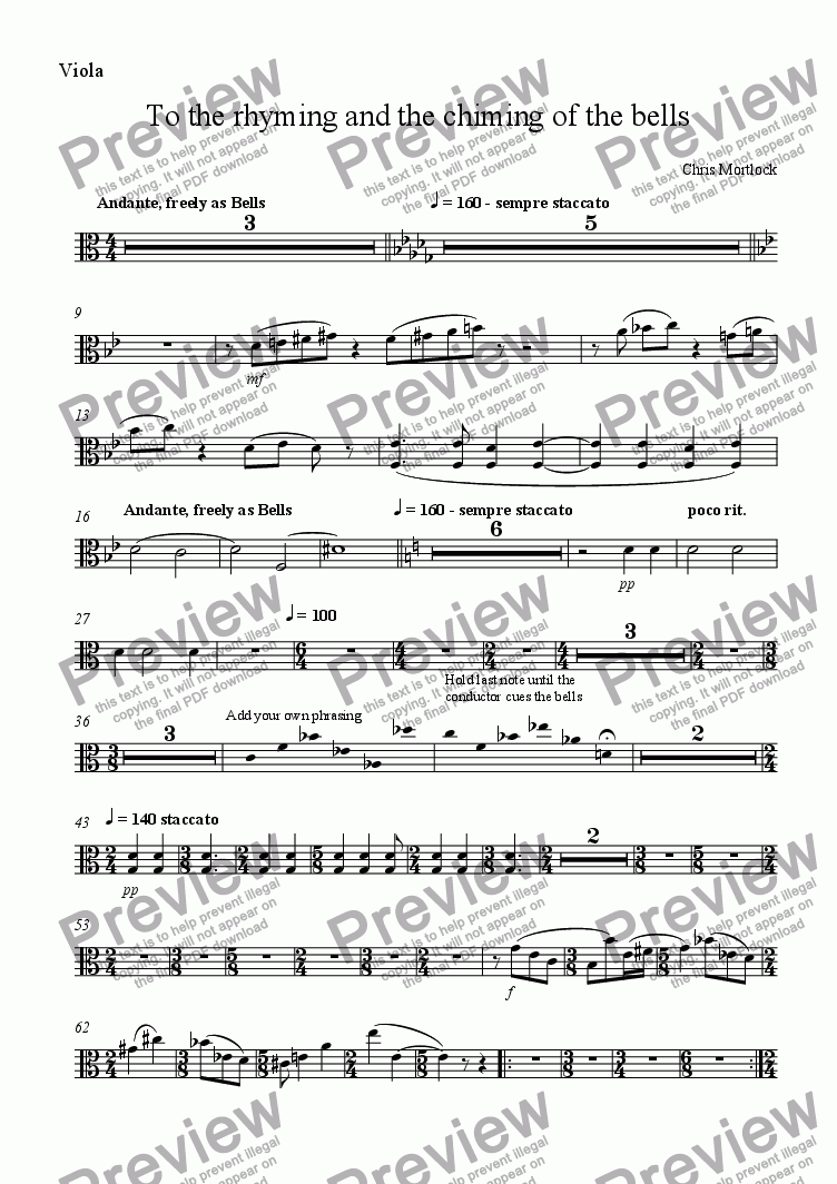 page one of the Viola part from To the Rhyming and the Chiming of the Bells