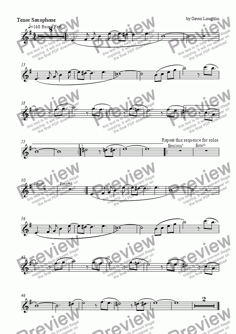 page one of the Tenor Sax part from Sunny September