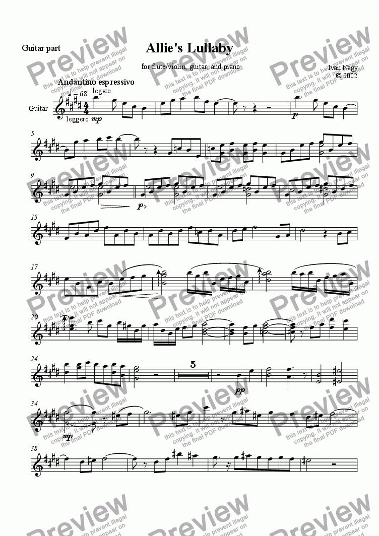 page one of the guitar part from LULLABY  FOR ALLISON  (flute/guitar/piano)
