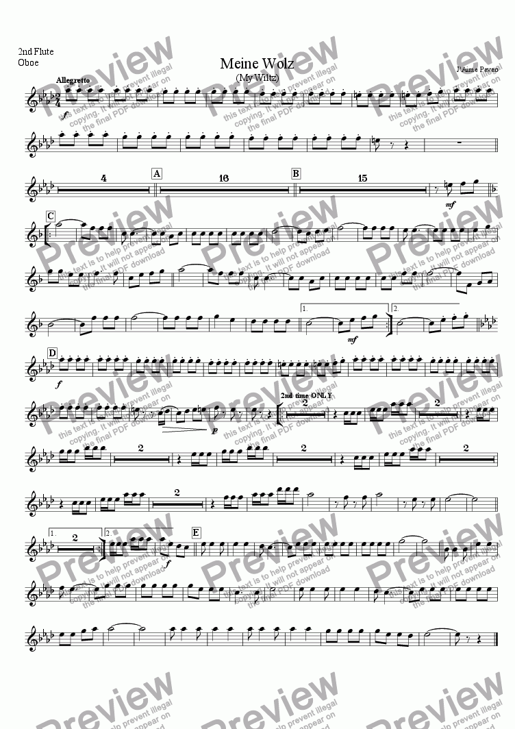 page one of the 2 Flute Oboe part from Meine Wolz